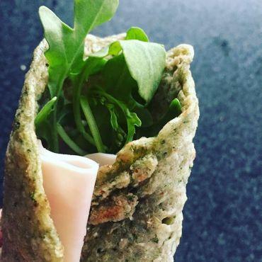 Crepes de trigo sarraceno, kale y jengibre
